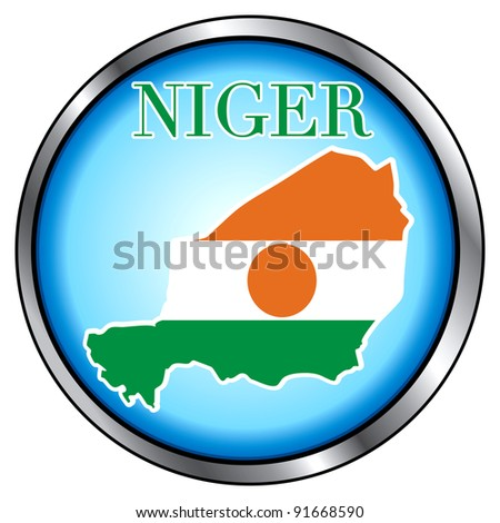 Raster version of Illustration for Niger, Round Button. - stock photo