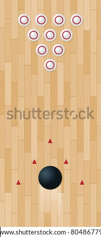 Raster version of illustration of a bowling lane - stock photo