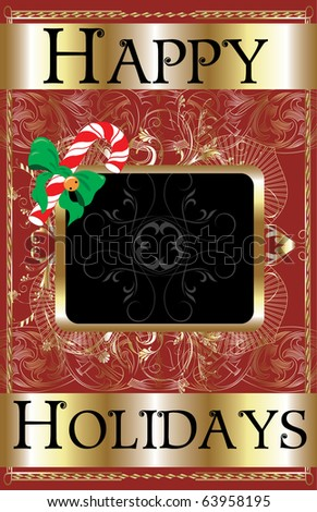 Raster version of Illustration of a Happy Holidays Candy Cane Poster. - stock photo