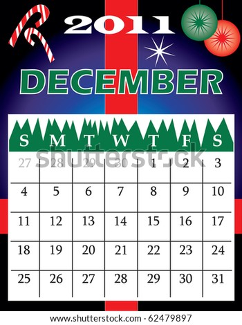 Raster version of Illustration of 2011 Calendar with a monthly, I have all 12 months designed separately or all 12 months in a single design. - stock photo