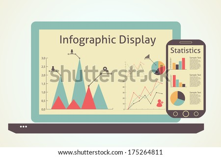 raster version of  infographics devices, statistics concept - stock photo