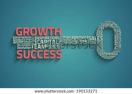 Raster version of key with business words - stock photo