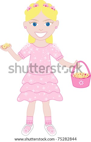 Raster version of little girl in pink dress with flowers. - stock photo