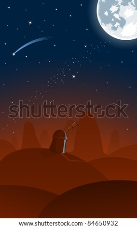 Raster version of observatory, full moon and falling stars on background - stock photo