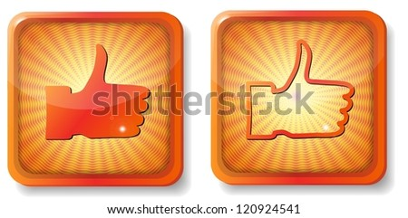 raster version of orange thumb up - stock photo