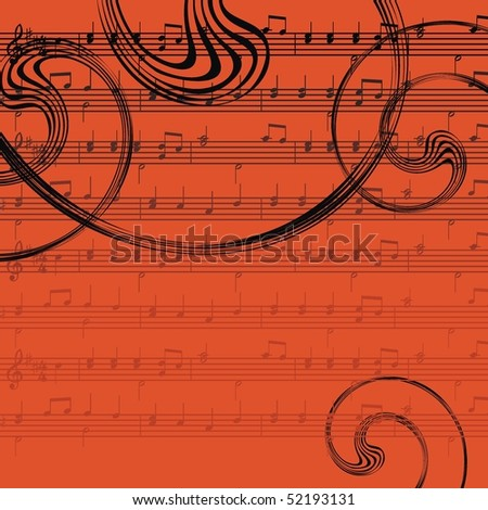 Raster version of ornamental music background
