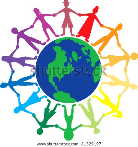 Raster version of people all around the world holding hands. - stock photo