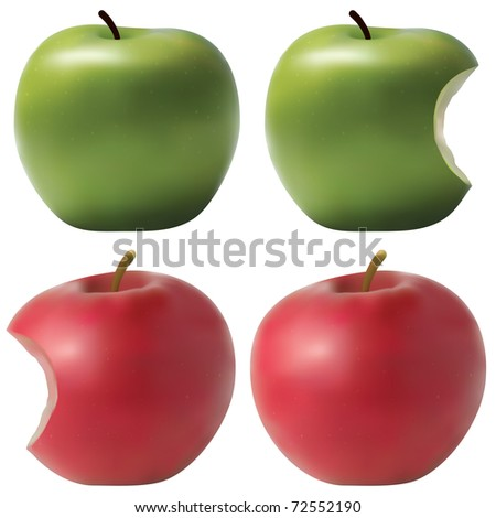 Raster version of photo realistic apples set. Green and red. Bitten effect. (vector available in portfolio) - stock photo
