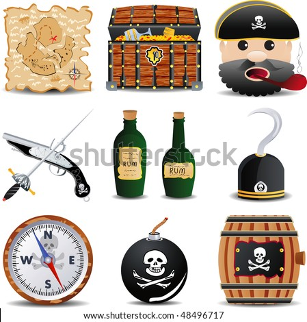 raster version of pirate icon set, part 2 of 3 - stock photo