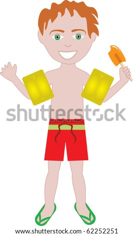 Raster version of red hair boy in swimsuit with arm floats and frozen popsicle. - stock photo