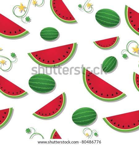 Raster version of refreshing slices of watermelon among swirling vines and whole fruit - stock photo