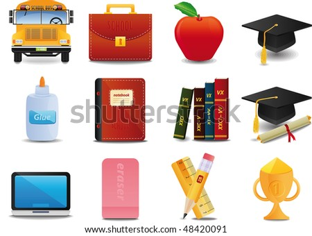 raster version of s Graduation, College and Education icon set - stock photo