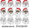Raster version of 12 Santa Faces Illustration. - stock photo