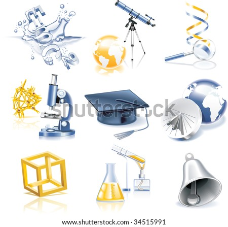 Raster version of science and education icon set - stock photo