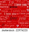 "raster version of seamless wallpaper valentine with hearts and superscription ""I love you"" - on red background with pink letters - stock photo"