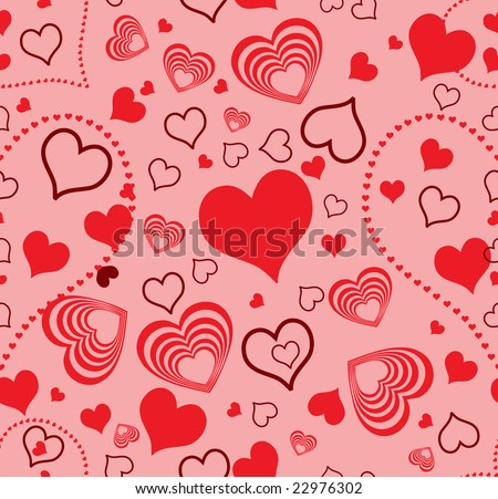 raster version of seamless wallpaper valentine with hearts - redish background with red hearts