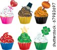 Raster version of six different Holiday Cupcakes. Christmas, Halloween, Thanksgiving, Valentines Day , Independence Day and St. Patricks Day. - stock photo