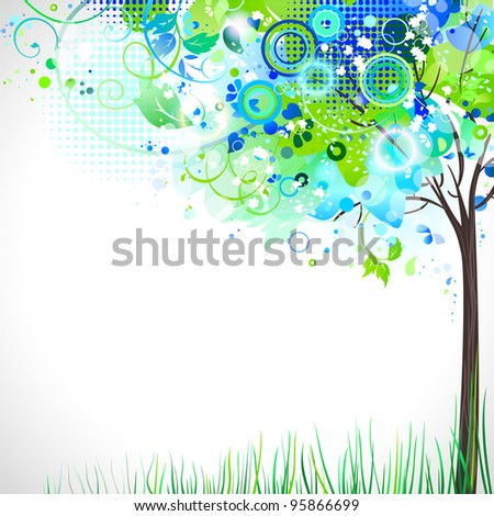 raster version of spring composition with tender tree - stock photo