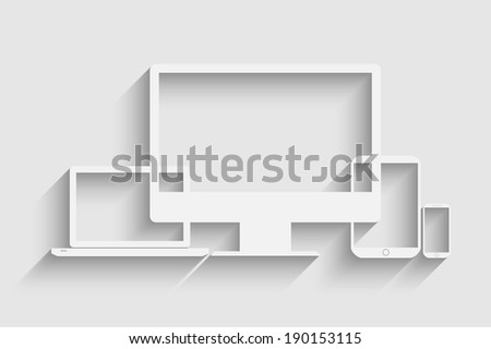 Raster version of Stylish representation of mobile devices - stock photo