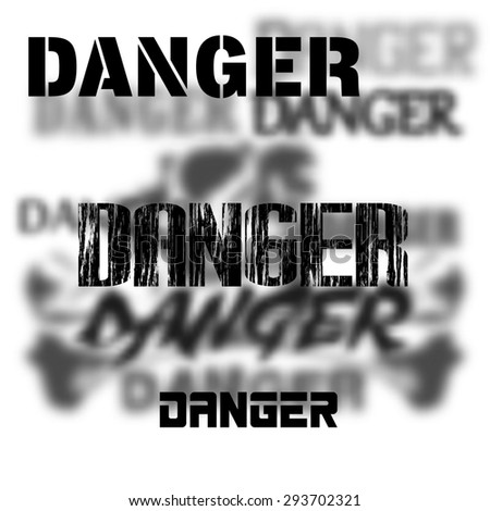 Raster version of the danger of different fonts, in the foreground a skull and bones on a background - stock photo