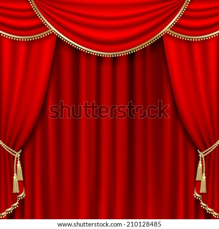 Raster version of theater stage  with red curtain. - stock photo