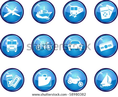 Raster  version of 12 travel icon buttons. Available in other colors and as a vector. - stock photo