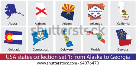 Raster version of USA states shaped flags collection. Set 1 of 5 (vector available)