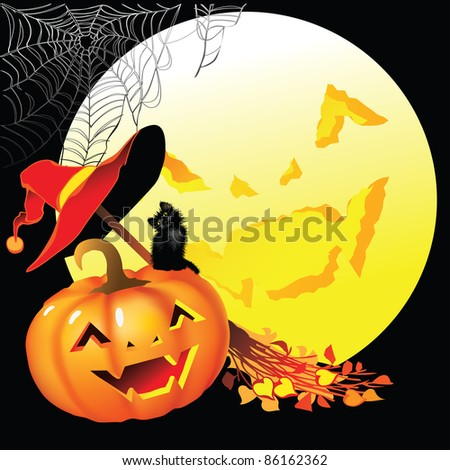 Raster version of vector/ Attributes of Halloween on a black background with the moon - stock photo