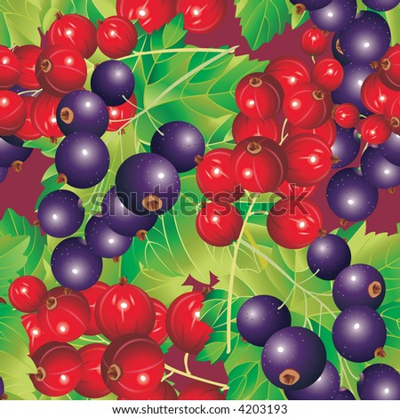 Raster version of vector background of Red and Black-currant (seamless pattern) - stock photo