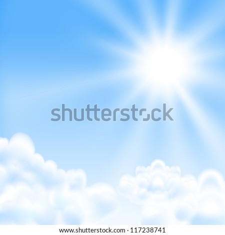 Raster version of vector background with a blue sky, sun and clouds