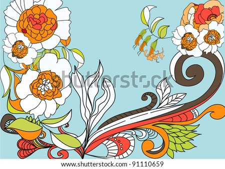 Raster version of vector Blue background with colorful flowers - stock photo
