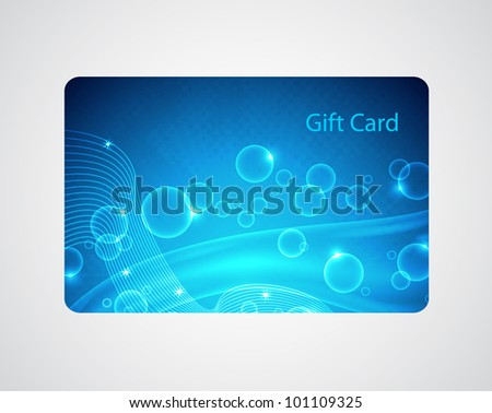 Raster version of vector blue gift card - stock photo