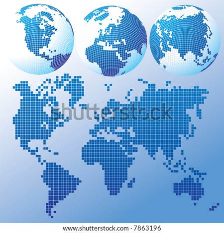 Raster version of vector blue global Set with a map - stock photo