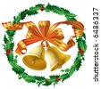 Raster version of vector christmas bells and a holly wreath (contain the Clipping Path of the bells and the ribbons) - stock photo
