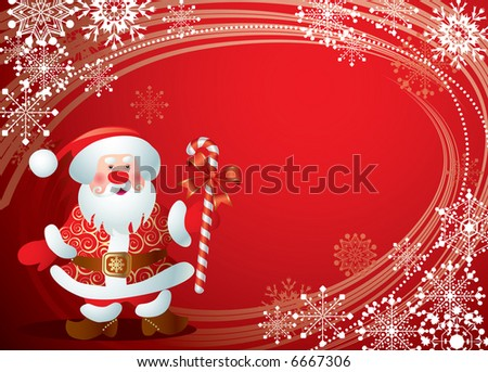 Raster version of vector Christmas card with the Santa Claus - stock photo