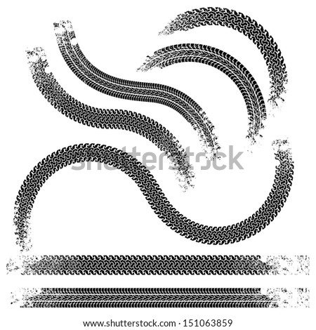 Raster version of vector collection traces of tires.Black and white. - stock photo
