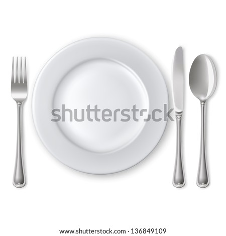 Raster version of vector empty plate with spoon, knife and fork on a white background.