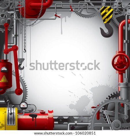 Raster version of vector engineering background with gears, levers, pipes, meters, production line, flue and lifting crane - stock photo