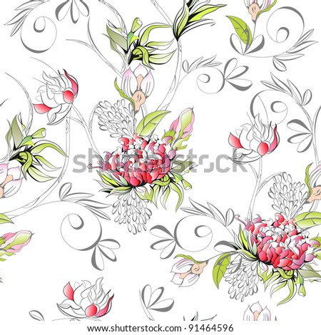 Raster version of vector  Floral seamless pattern - stock photo