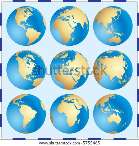 Raster version of vector Global Set - stock photo