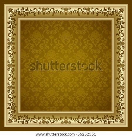 Raster version of vector gold frame on the brown background