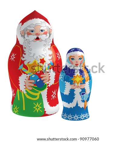 "Raster version of vector/ Grandfather Frost"" and ""Snow Maiden"" - Russian Matryoshka-dolls - stock photo"