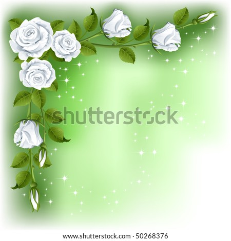 Raster version of vector green background with white roses