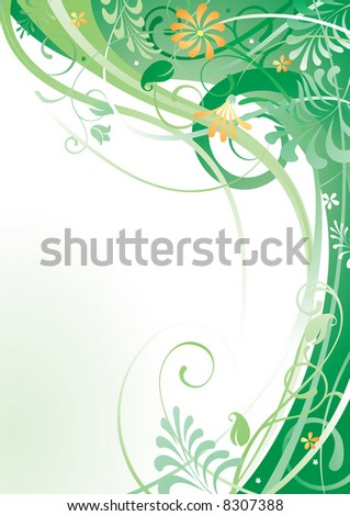 Raster version of vector herbal background