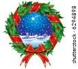 Raster version of vector holly wreath with a city view (contain the Clipping Path of the wreath) - stock photo