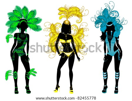 Raster version of vector Illustration for Carnival 3 Silhouettes with different costumes. - stock photo