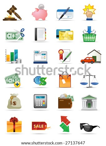 Raster version of vector illustration icons series. All elements and textures are individual objects. - stock photo