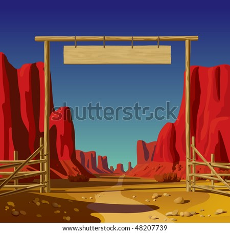 Raster version of vector illustration of a farm gate in the Wild West - stock photo