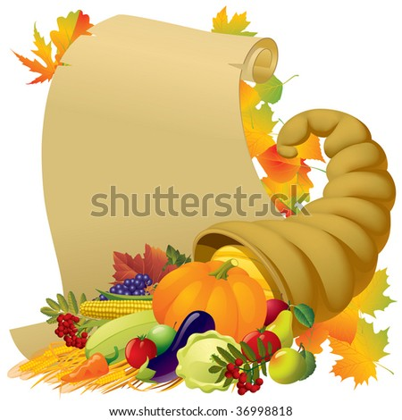 Raster version of vector image of a scroll with the Horn of Plenty and vegetables - stock photo