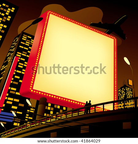 Raster version of vector image of an advertising billboard by the road in the city - stock photo